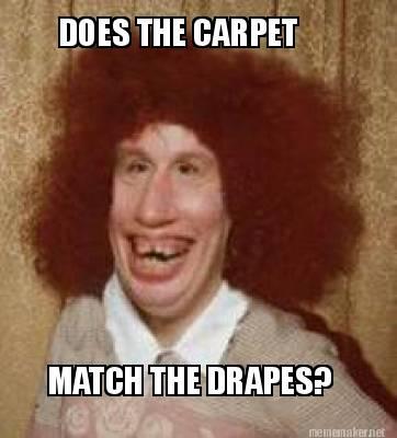 Meme Maker - DOES THE CARPET MATCH THE DRAPES? Meme Maker!