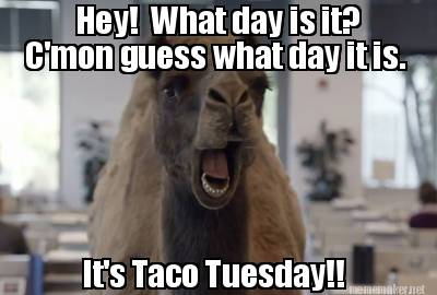 it it s taco tuesday c mon guess what day it is re caption this memeGuess What Day It Is Birthday Meme